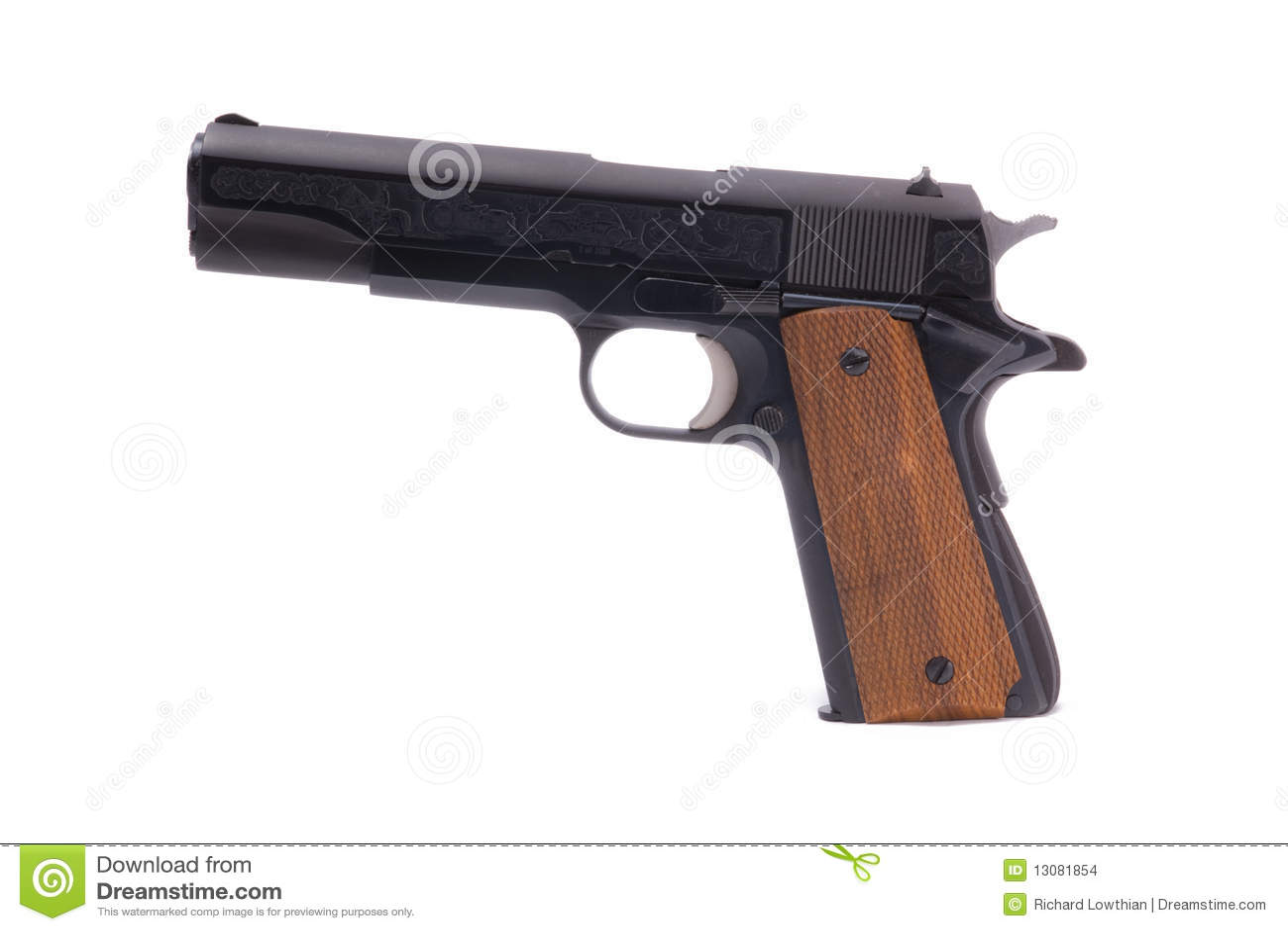Semi-automatic Handgun stock photo  Image of white, isolated