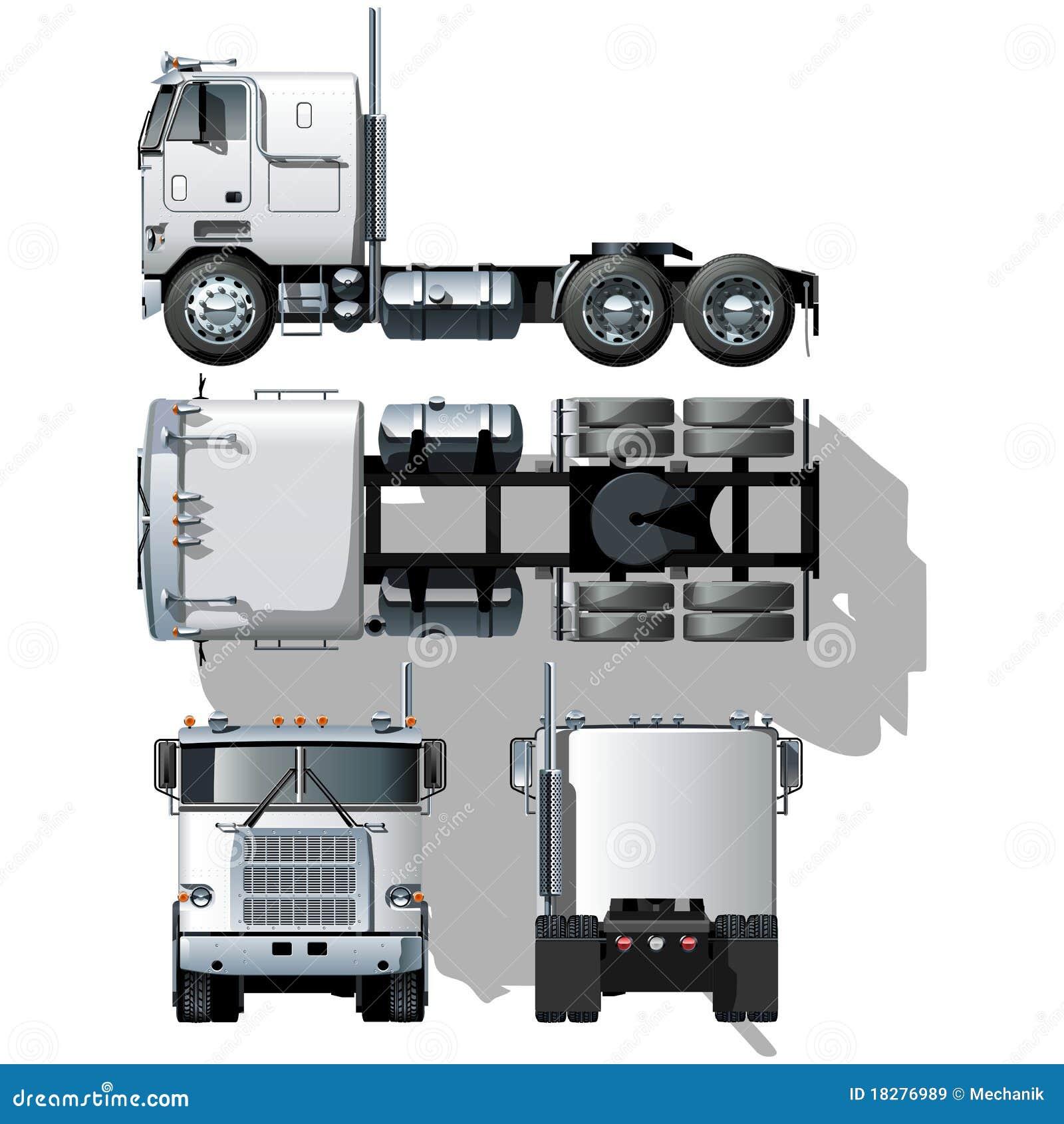 Semi-camion ciao-dettagliato di vettore