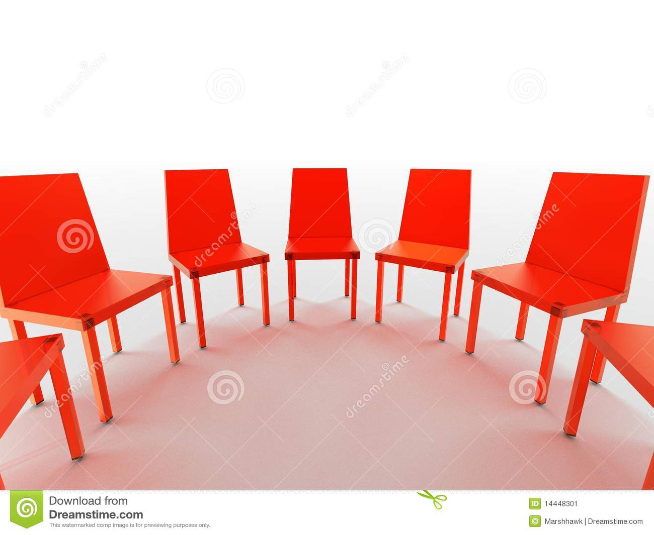 Ordinaire Semi Circle Of Red Chairs