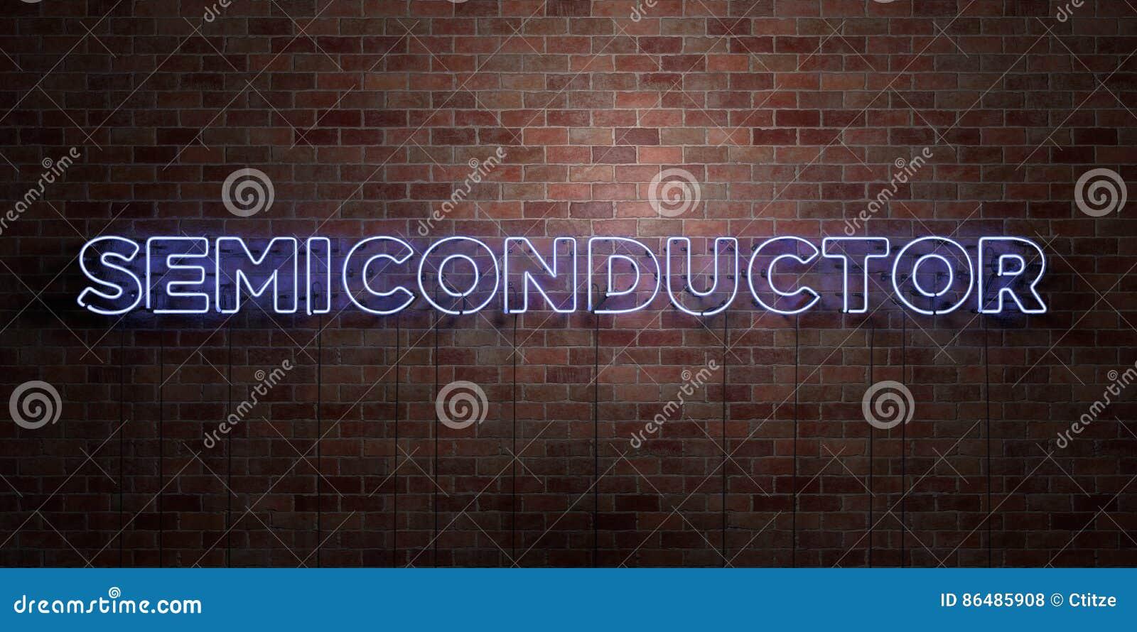 SEMI-CONDUCTEUR - tube au néon fluorescent connectez-vous la brique - vue de face - photo courante gratuite de redevance rendue p