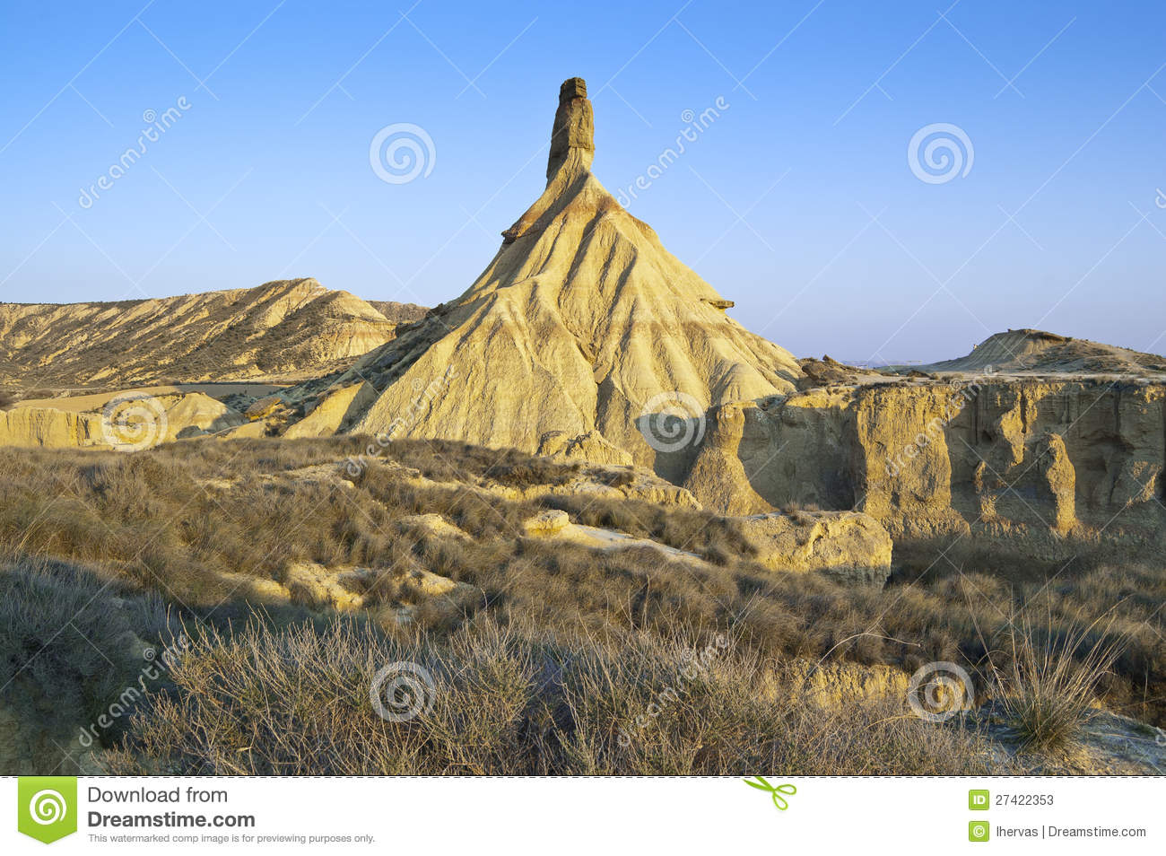 Semi-desert landscape in bardenas reales, navarre, spain. the bardenas