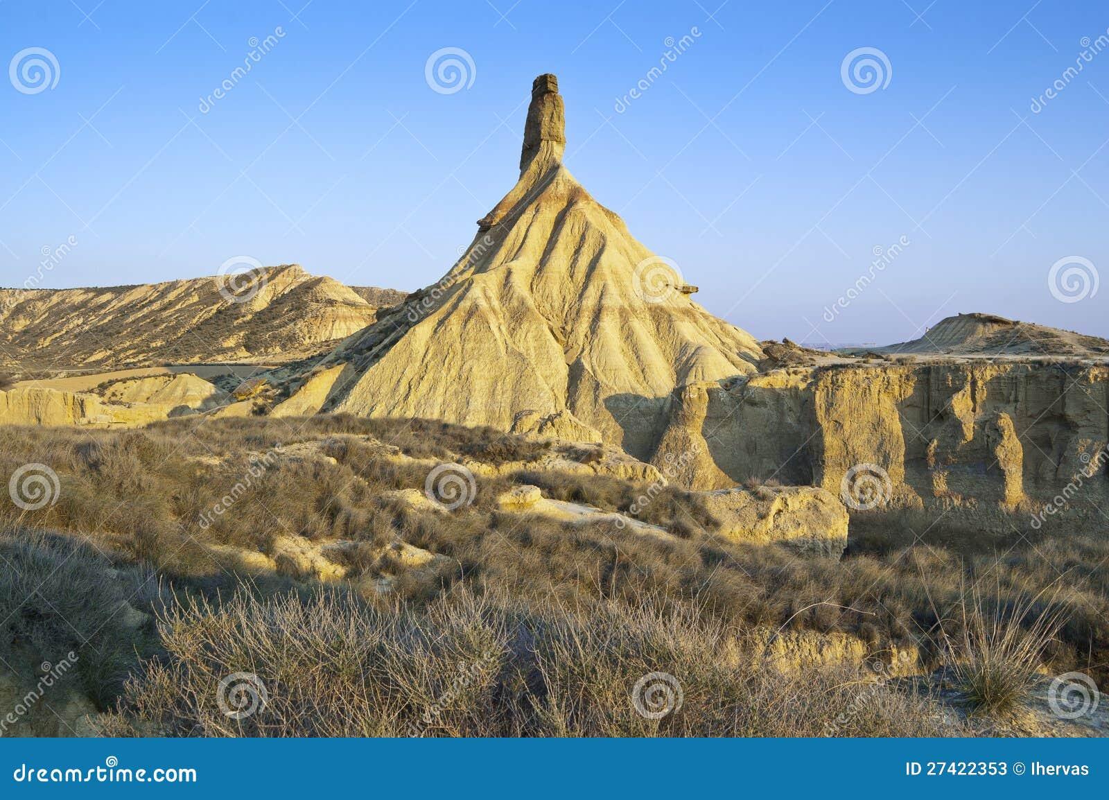 Semi-desert landscape in bardenas reales, navarre, spain. the bardenas