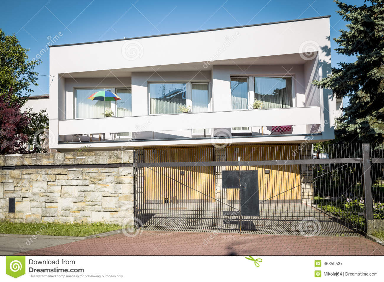 Semi Detached House In Modern Style Stock Photo Image