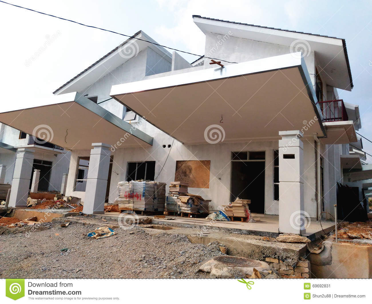 Semi Finished House Building At Construction Site Stock
