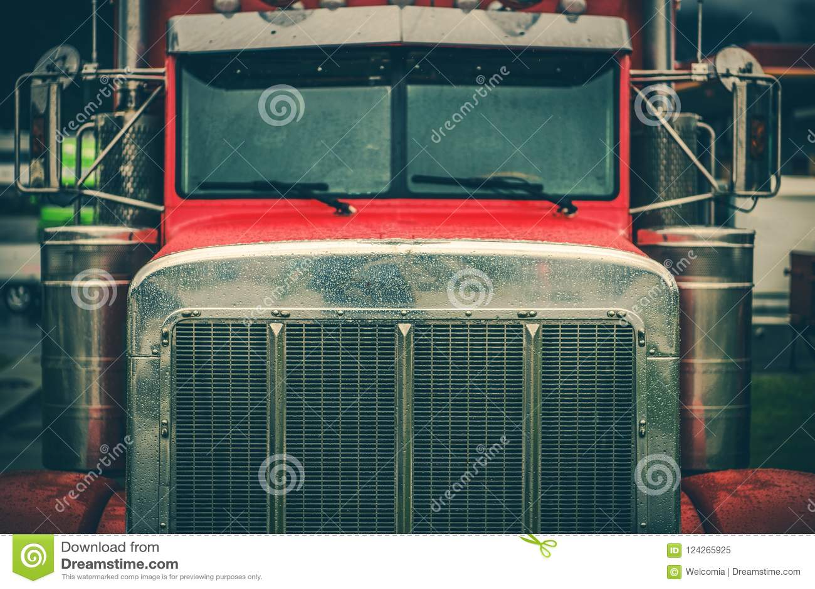 Semi primer de la parrilla del camión
