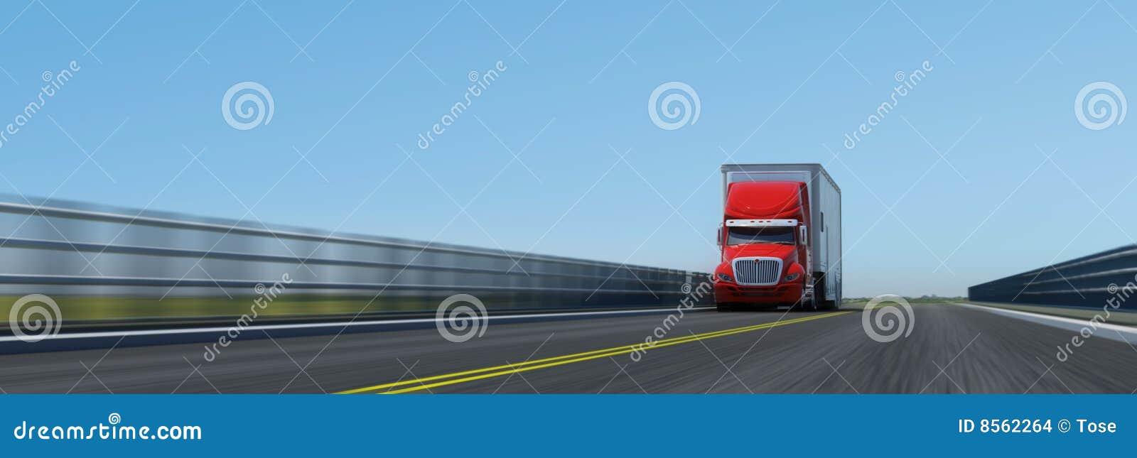Semi-trailer on the road