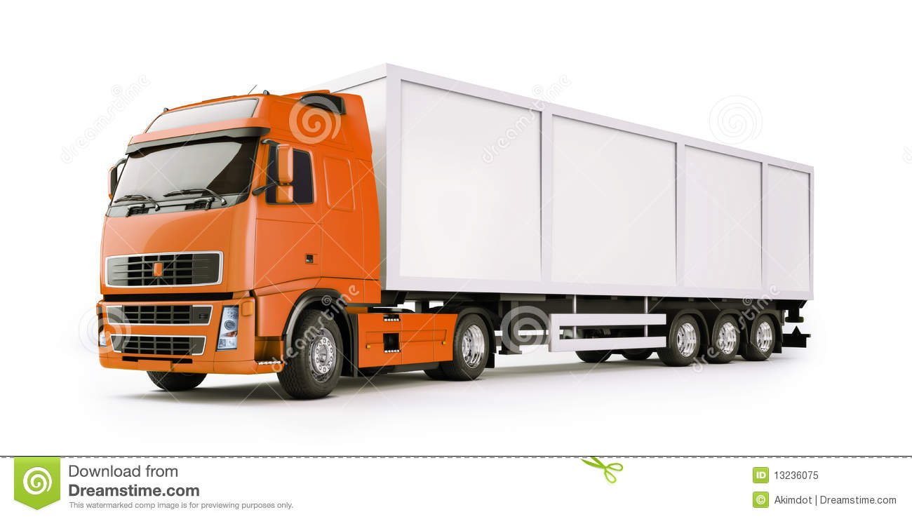 Closeup of modern semi-trailer truck or articulated lorry with copy ...
