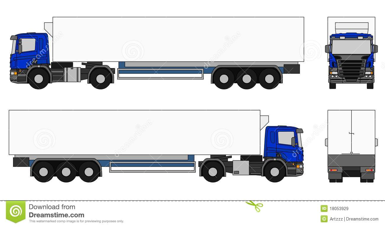 An illustration of a semi trailer truck