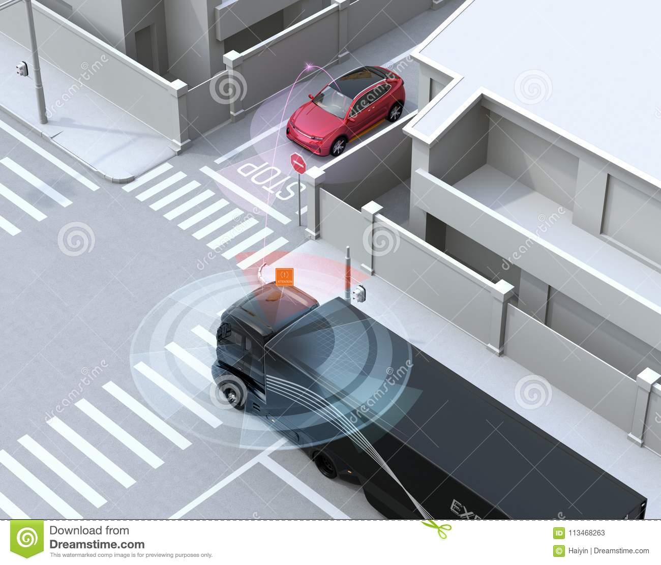 Semi Truck Detected Car In One Way Street In The Blind Spot Stock