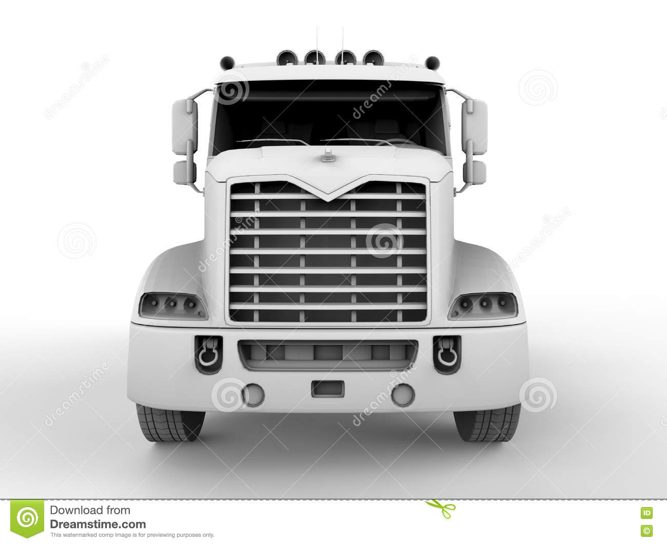 Semi truck front view stock illustration. Illustration of ...