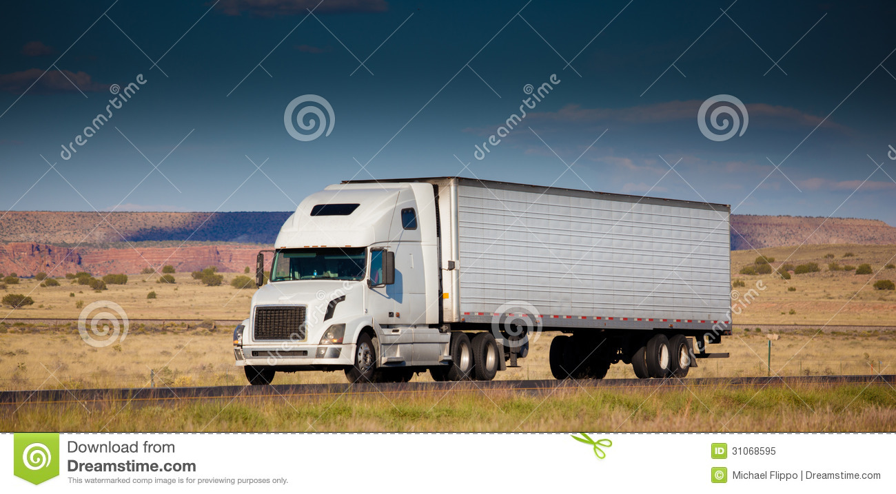 Semi Truck Seats >> Semi-truck On The Road In The Desert Royalty Free Stock Photo - Image: 31068595
