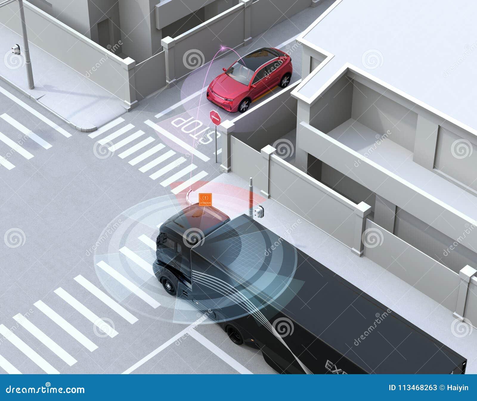 Semi vrachtwagen ontdekte auto in unidirectionele straat in de blinde vlek