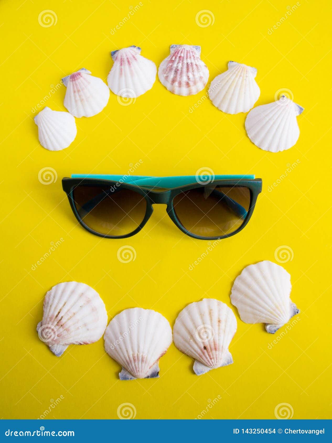 Semicírculo de las conchas marinas blancas con las gafas de sol en fondo amarillo