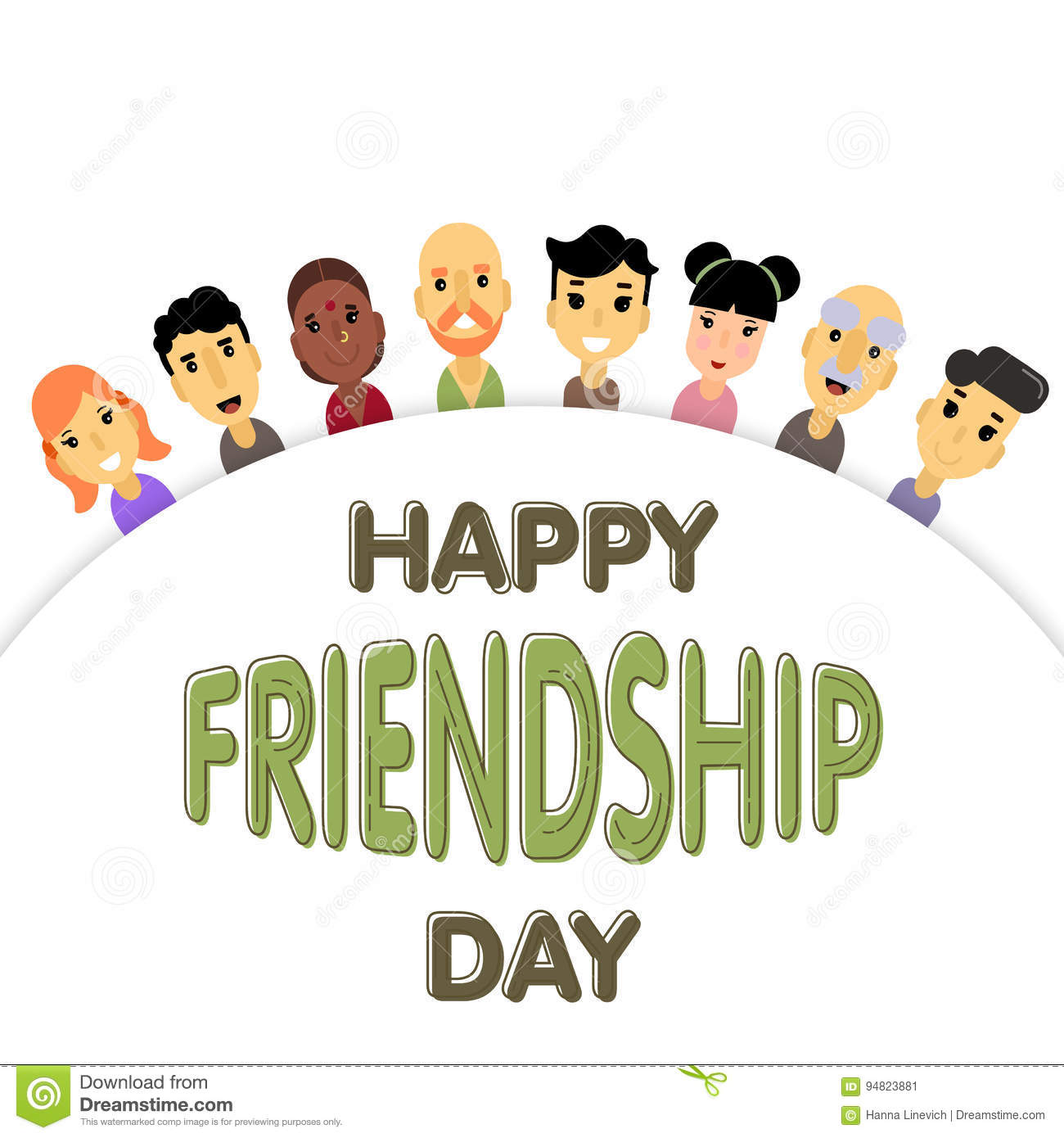 The semicircle of friends of different genders and nationalities the semicircle of friends of different genders and nationalities as a symbol of international friendship day buycottarizona Choice Image