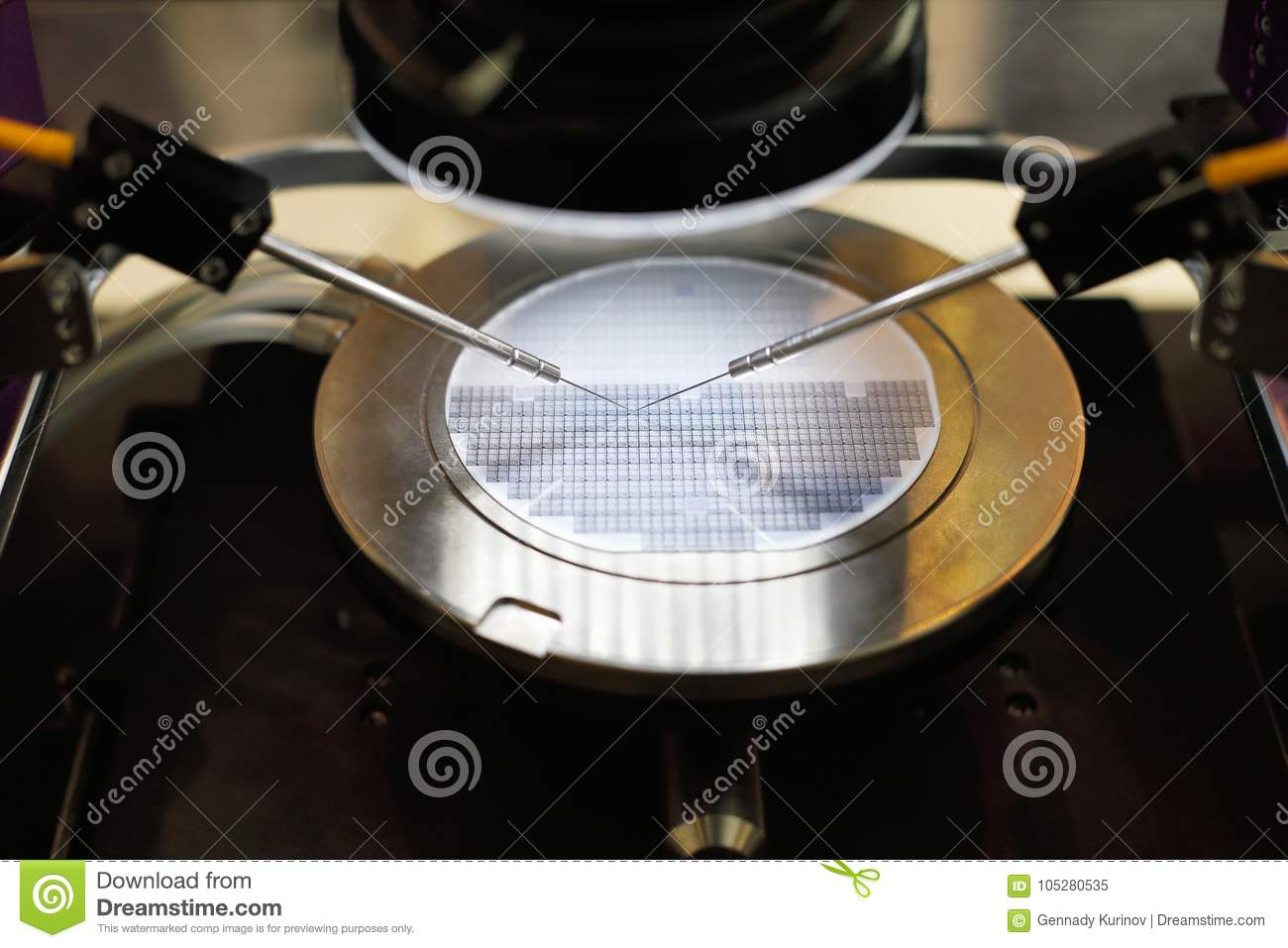 Stock Semiconductor Testing : Semiconductor silicon wafer undergoing probe testing stock