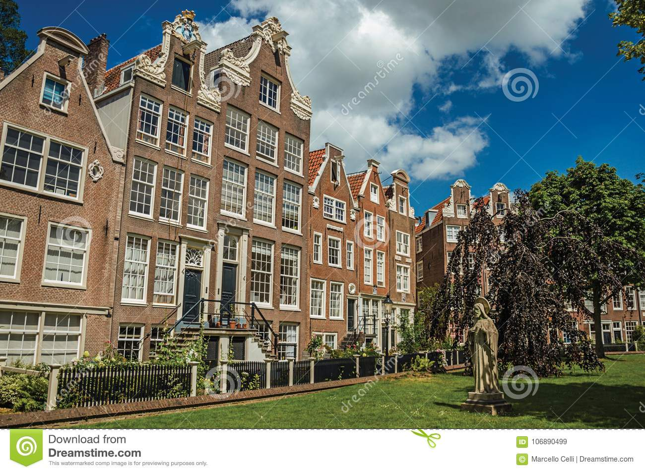 Semidetached Typical Houses And Green Garden At Begijnhof, A ...