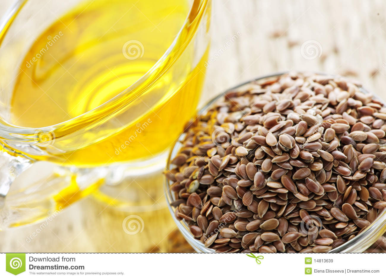 Semilla de lino de Brown y aceite de linaza