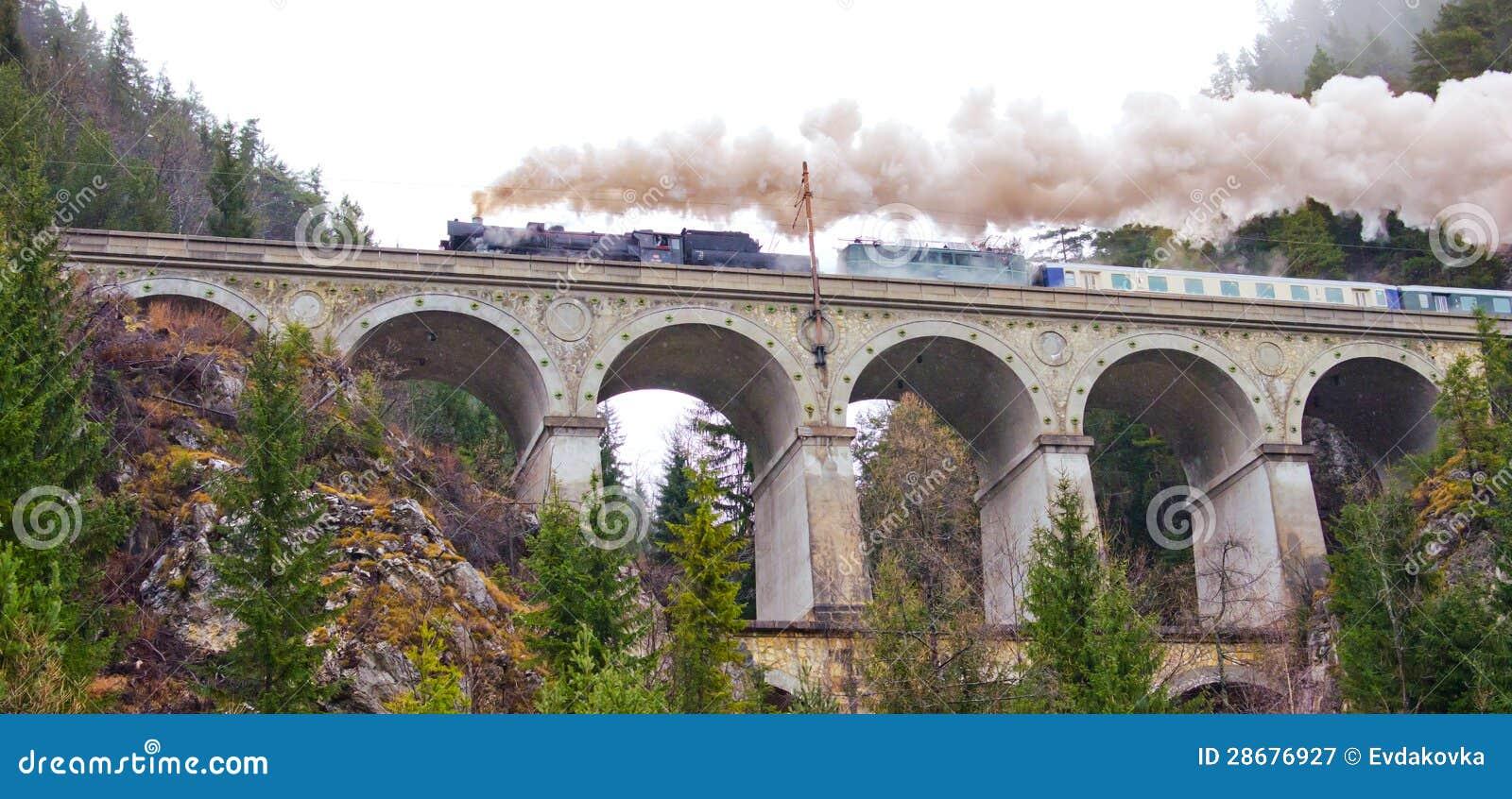 Semmering järnväg. Akvedukt i de österrikiska alpsna.