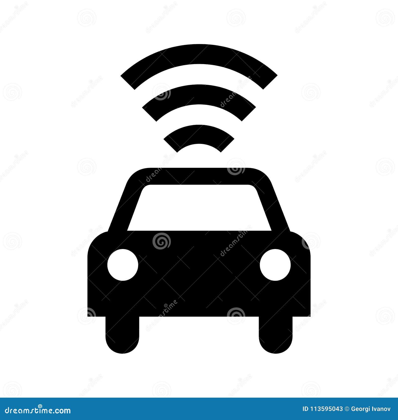 Semplice, auto-guidando la siluetta del nero dell icona dell automobile Isolato su bianco