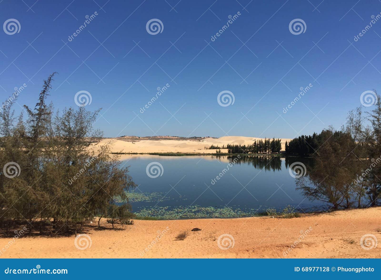 Senador lago de Bau con la colina de la arena en Vietnam meridional