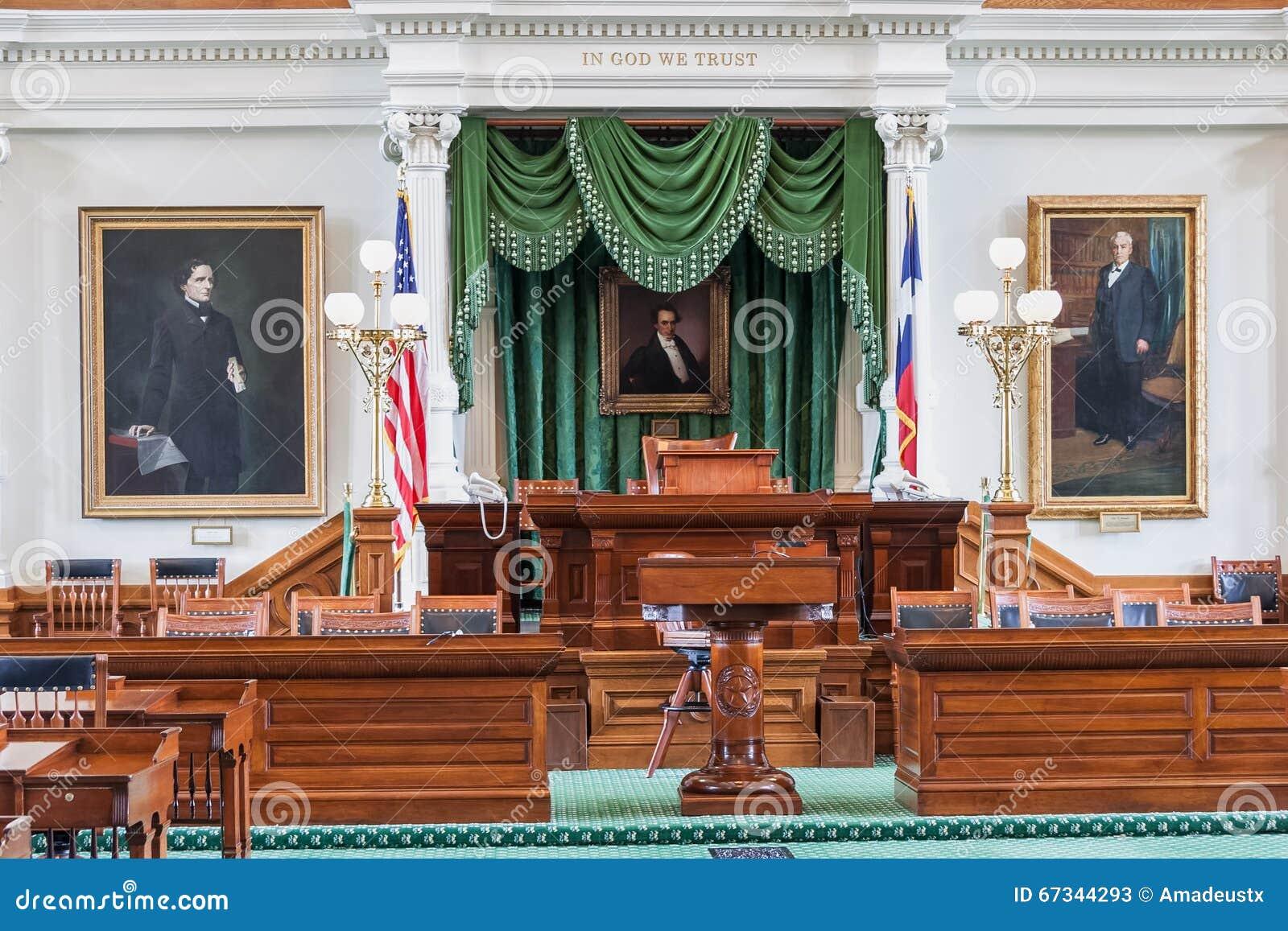 Senate Chamber in Texas State Capitol in Austin, TX