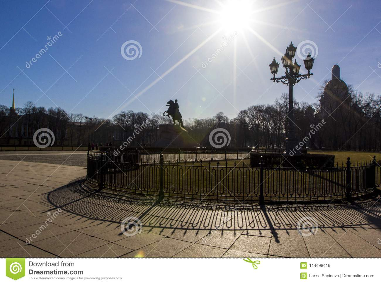 Senate square, Bronze horseman monument and St. Isaac cathedral, bright sun and beautiful shadowsSaint Petersburg, Russia.