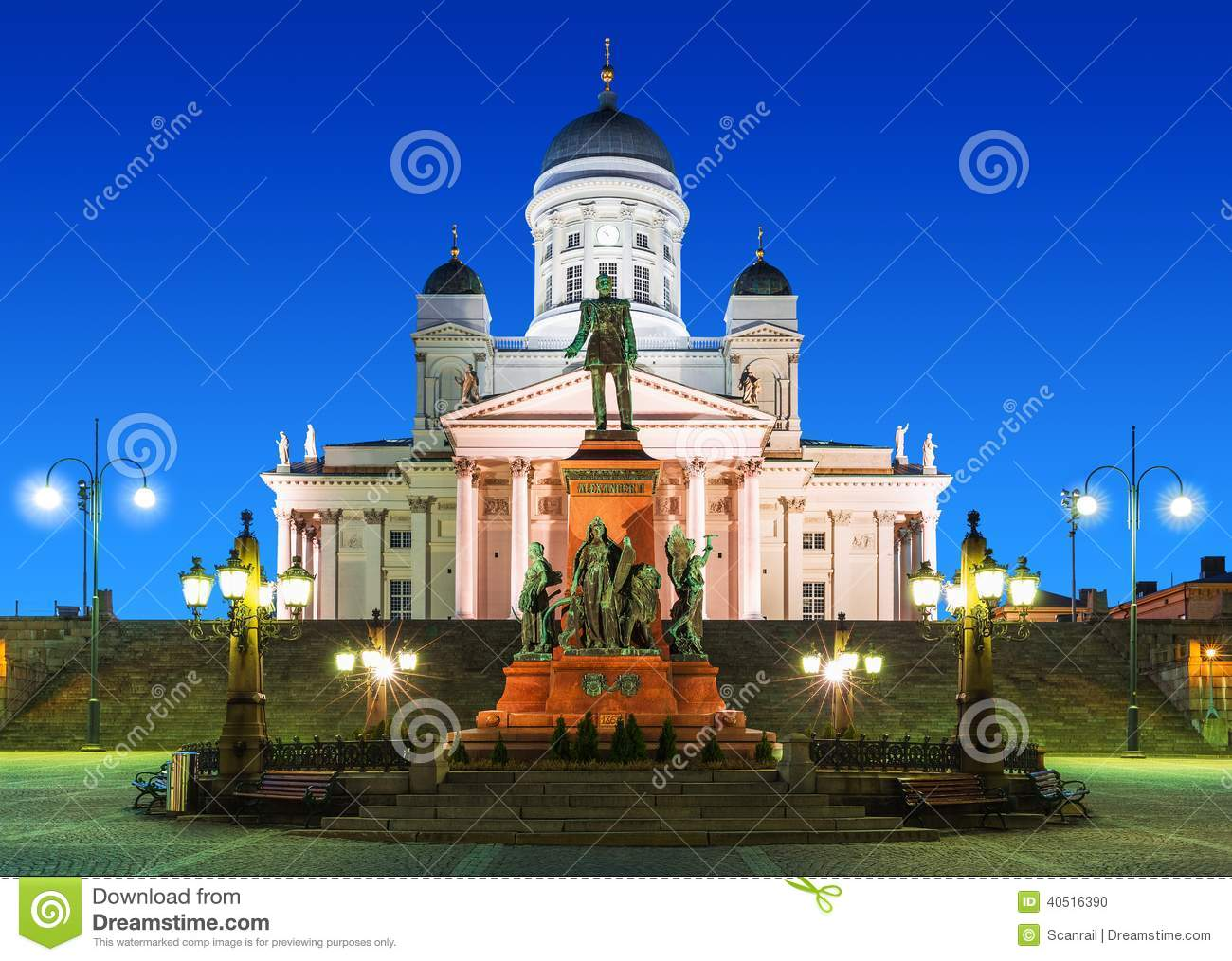 Senate Square At Night In Helsinki, Finland Stock Photo ...