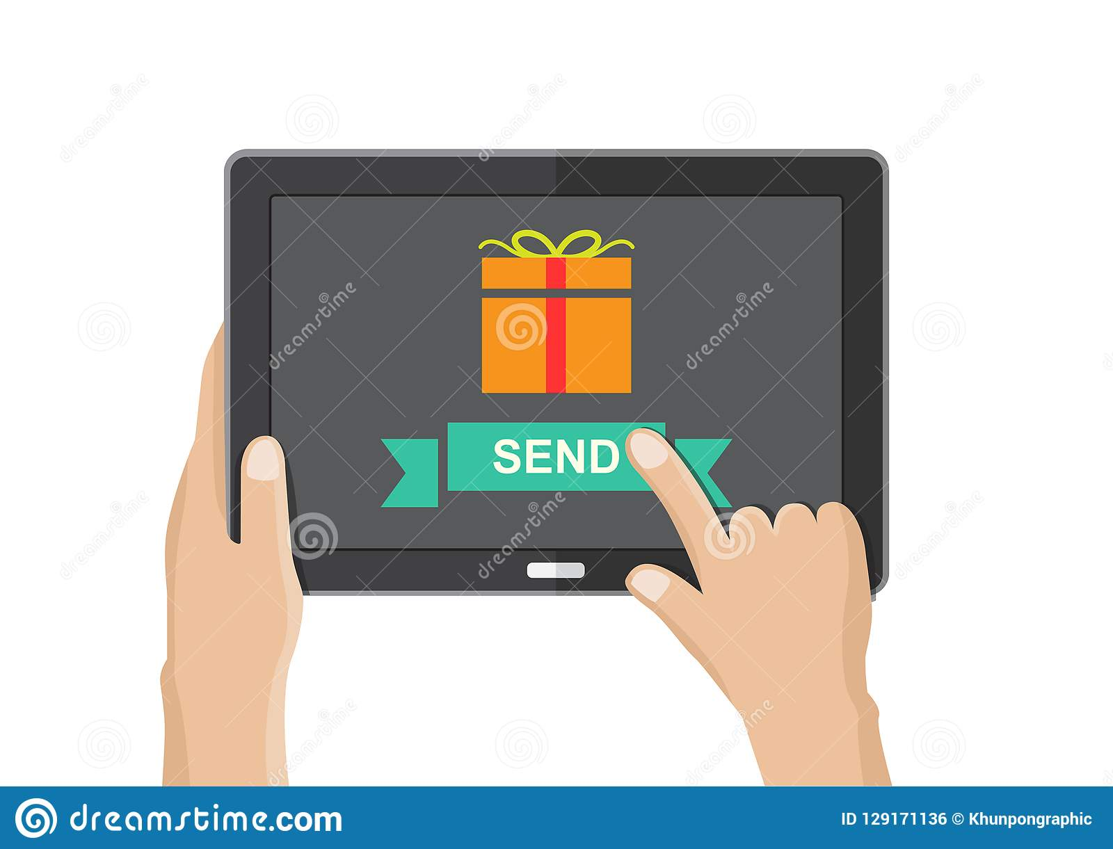 Send Gift Box From Tablet Birthday Christmas And New Year Festive Concept Internet Of Things