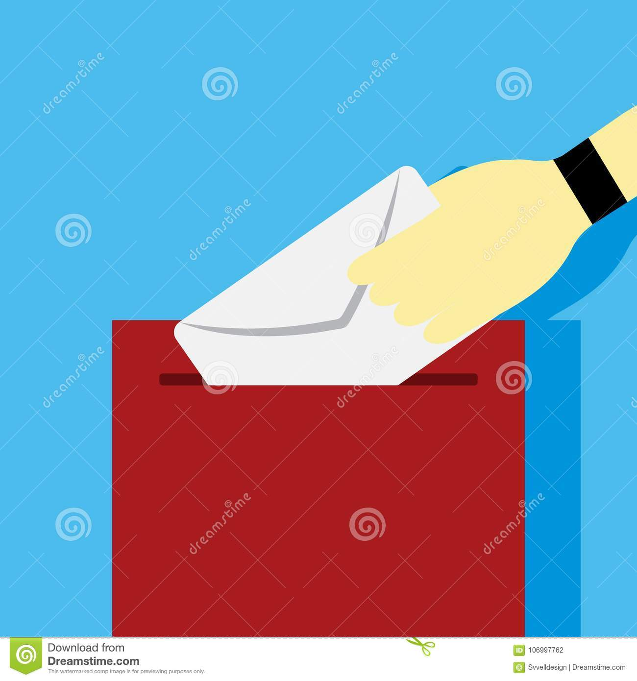 Sending Letter Mailbox Hand Gesture Vector Illustration Graphic