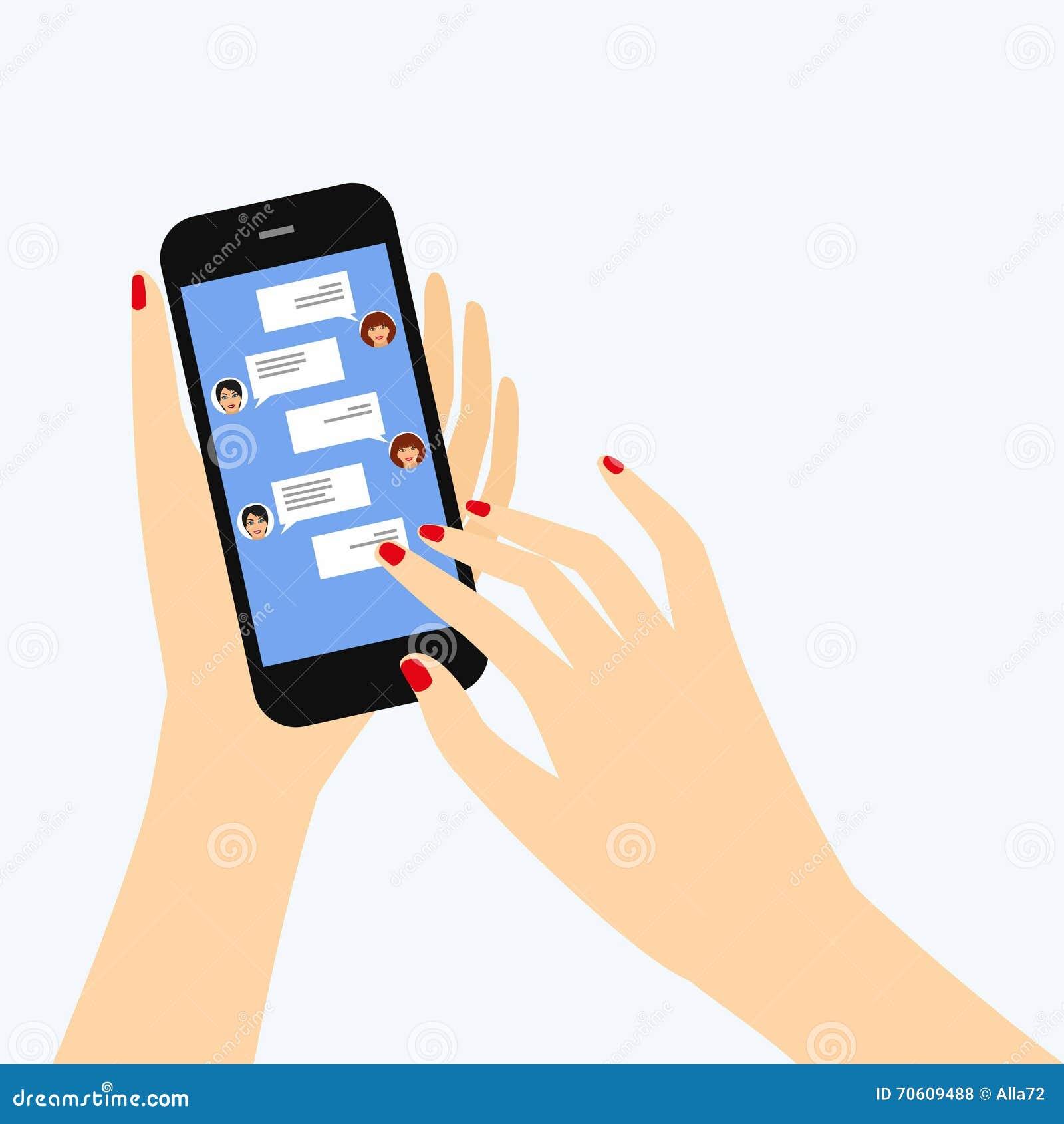 Instant Message Cartoon : Sending messages to friends via instant messaging stock