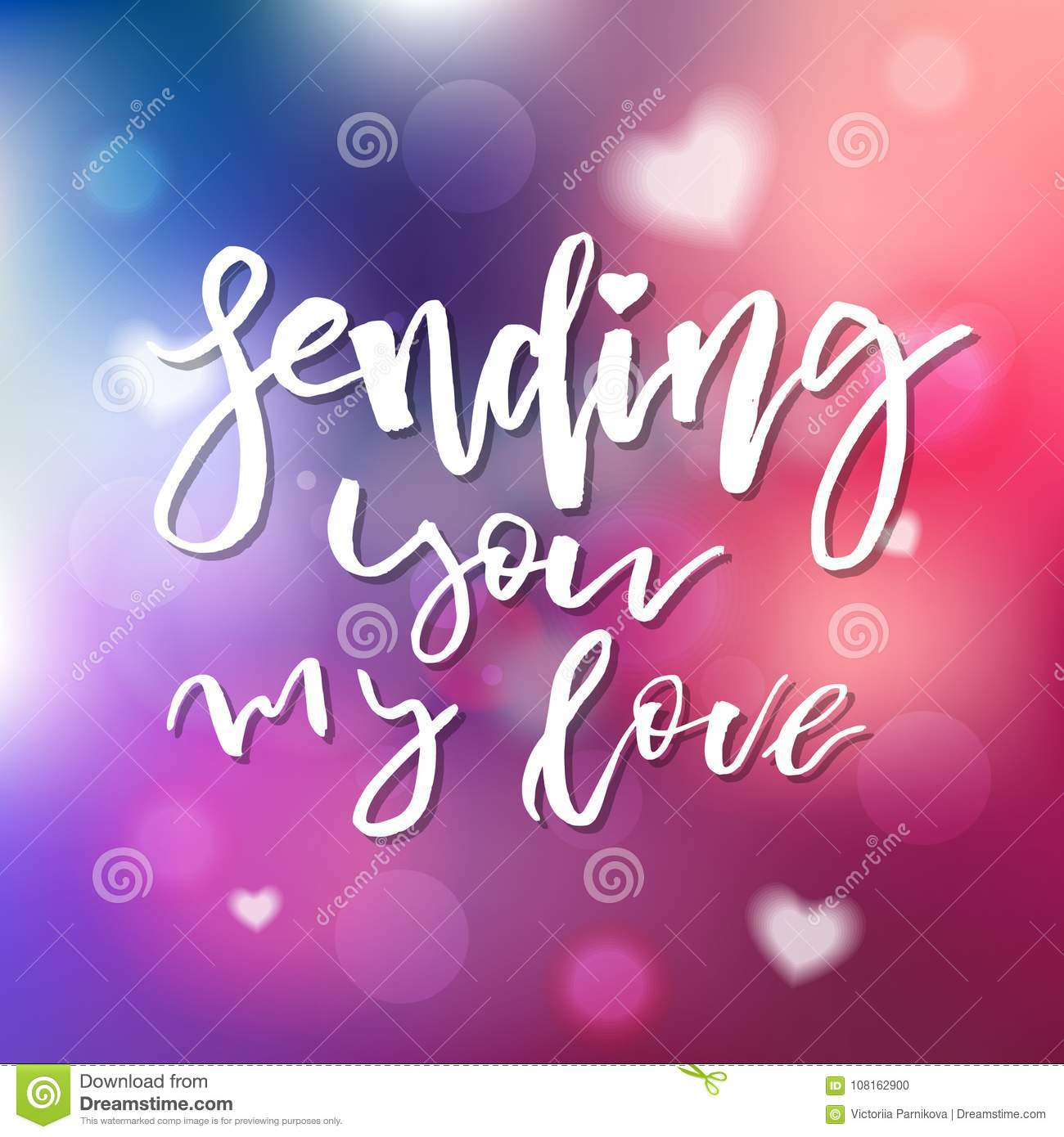 sending you my love calligraphy for invitation greeting card