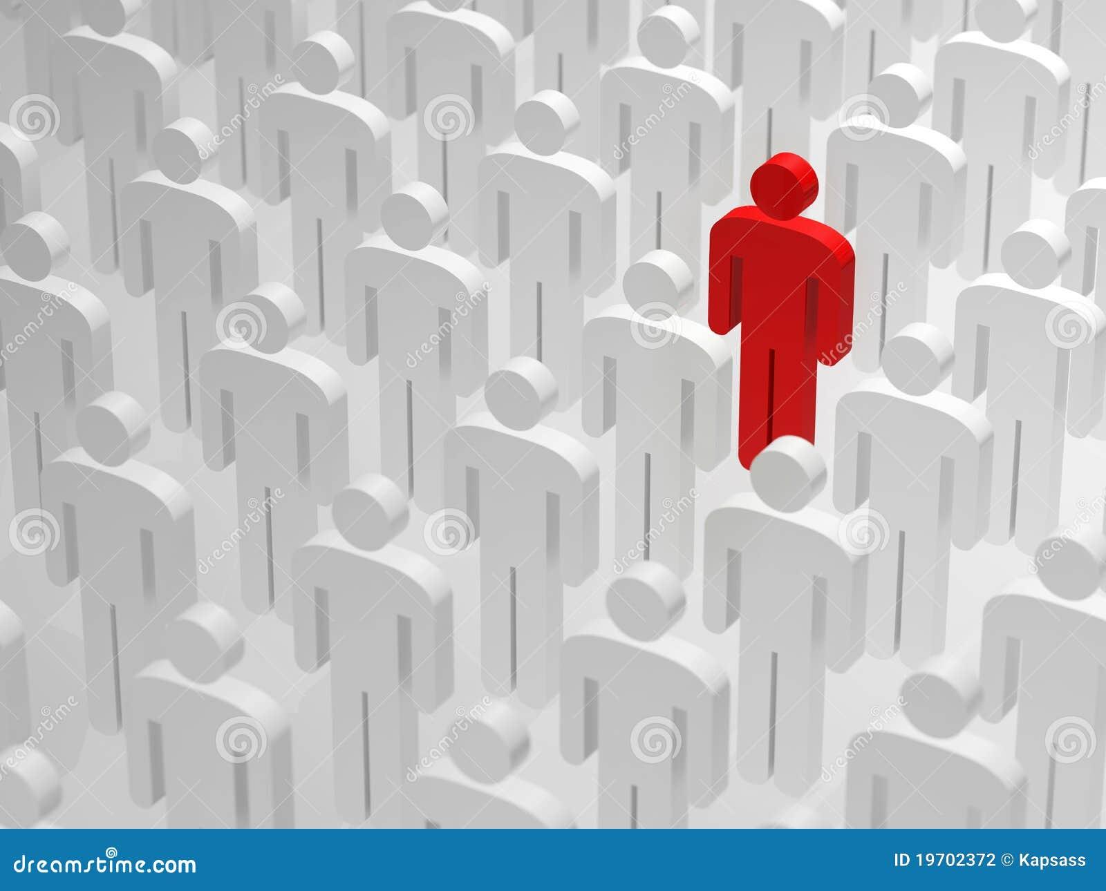Sendo diferente e posição para fora da multidão