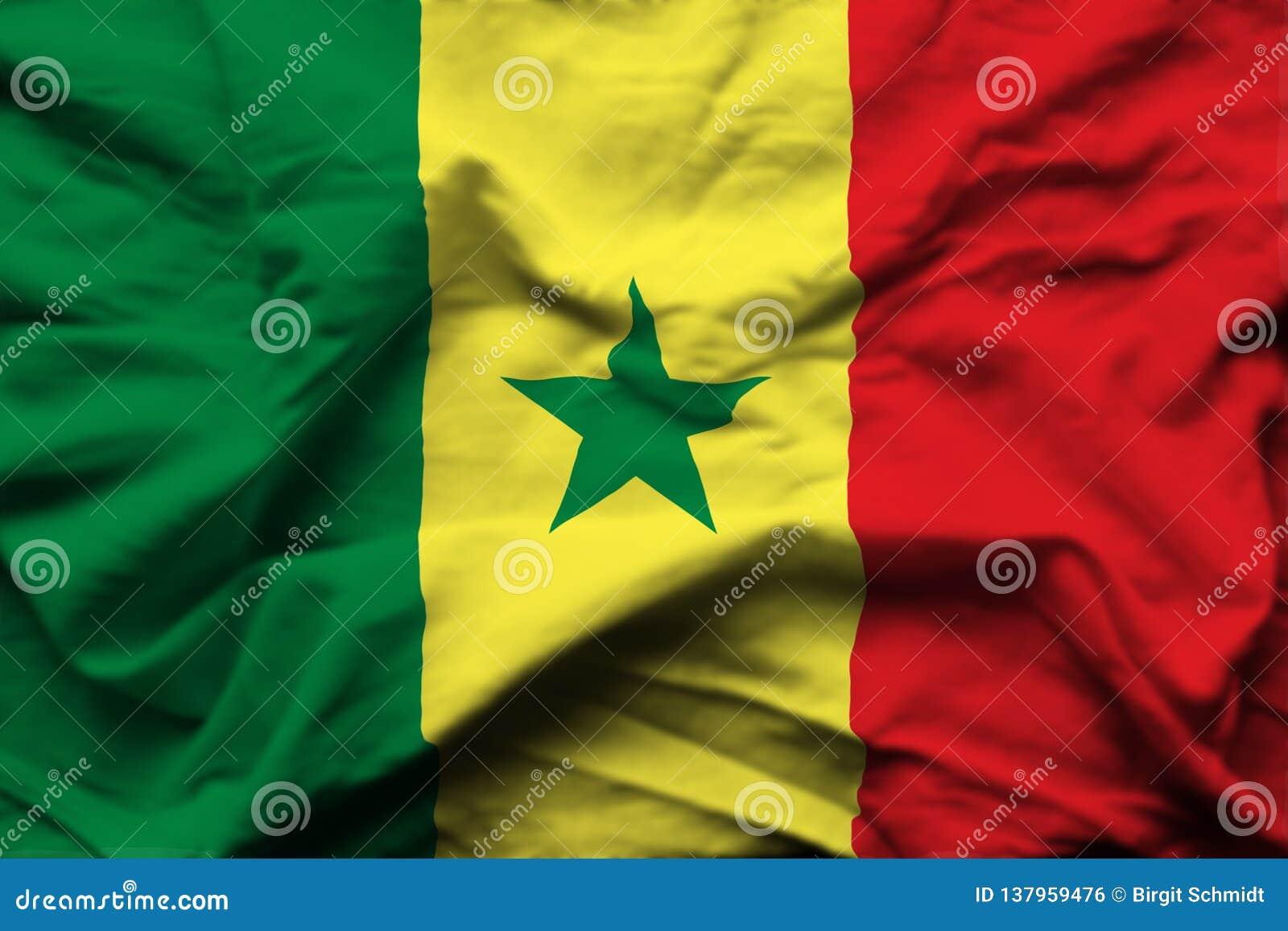 Senegal realistic flag illustration.