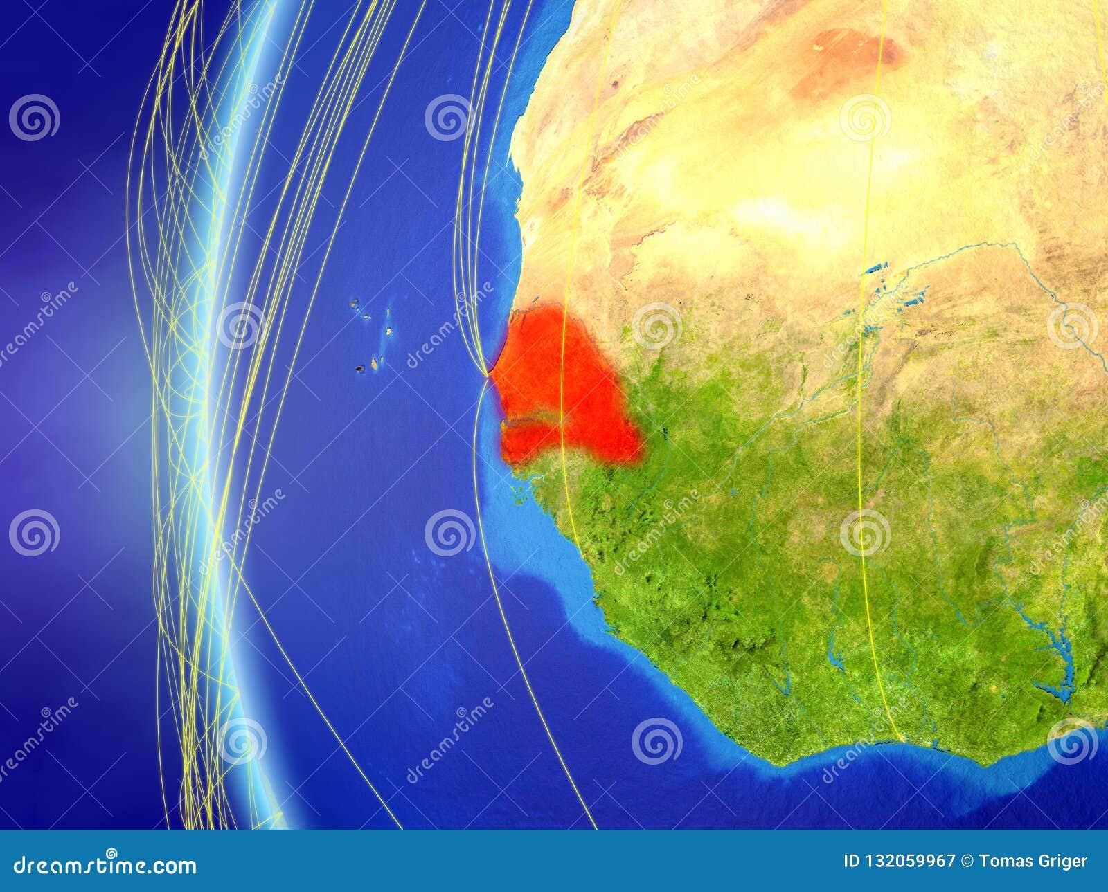 Senegal do espaço com rede
