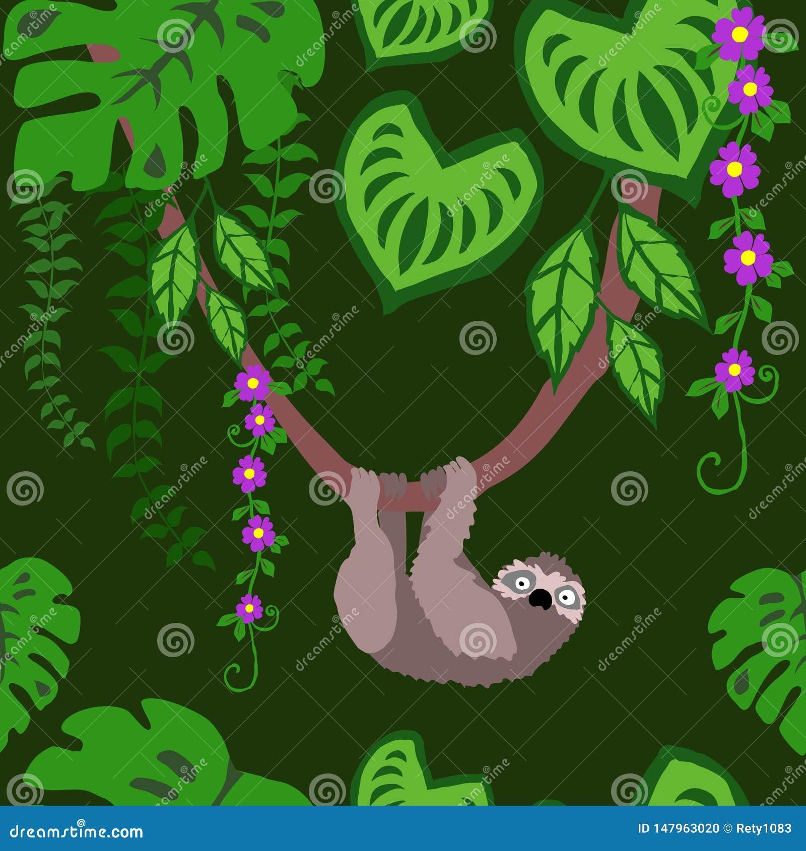 Sengångare och sömlös modell för tropiska växter, exotiska upprepad modell Backround för fågelRainforest tropiska sidor