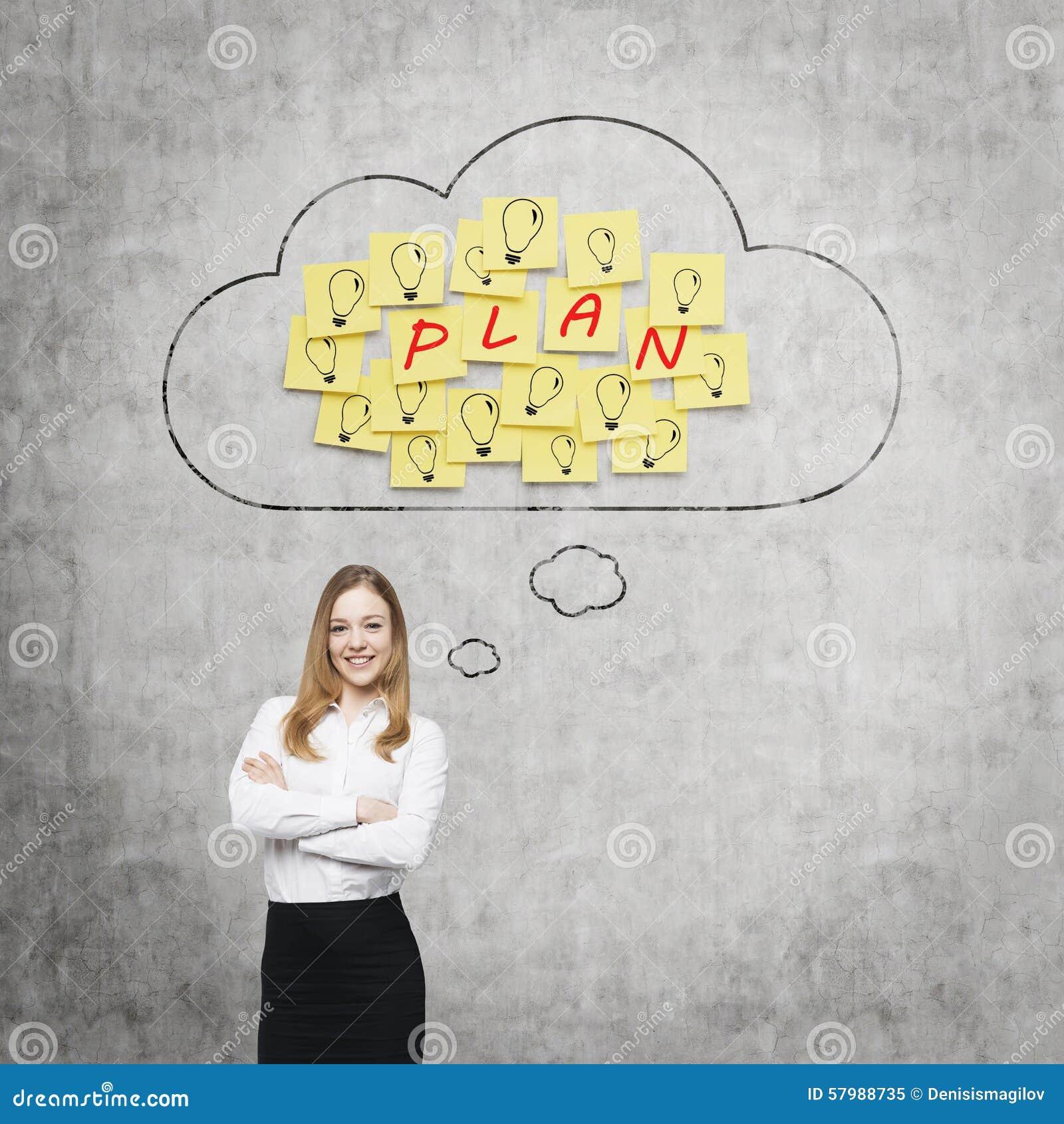 A senhora bonita está pensando sobre os planos de negócios futuros As nuvens e as etiquetas amarelas com a palavra  planeiam