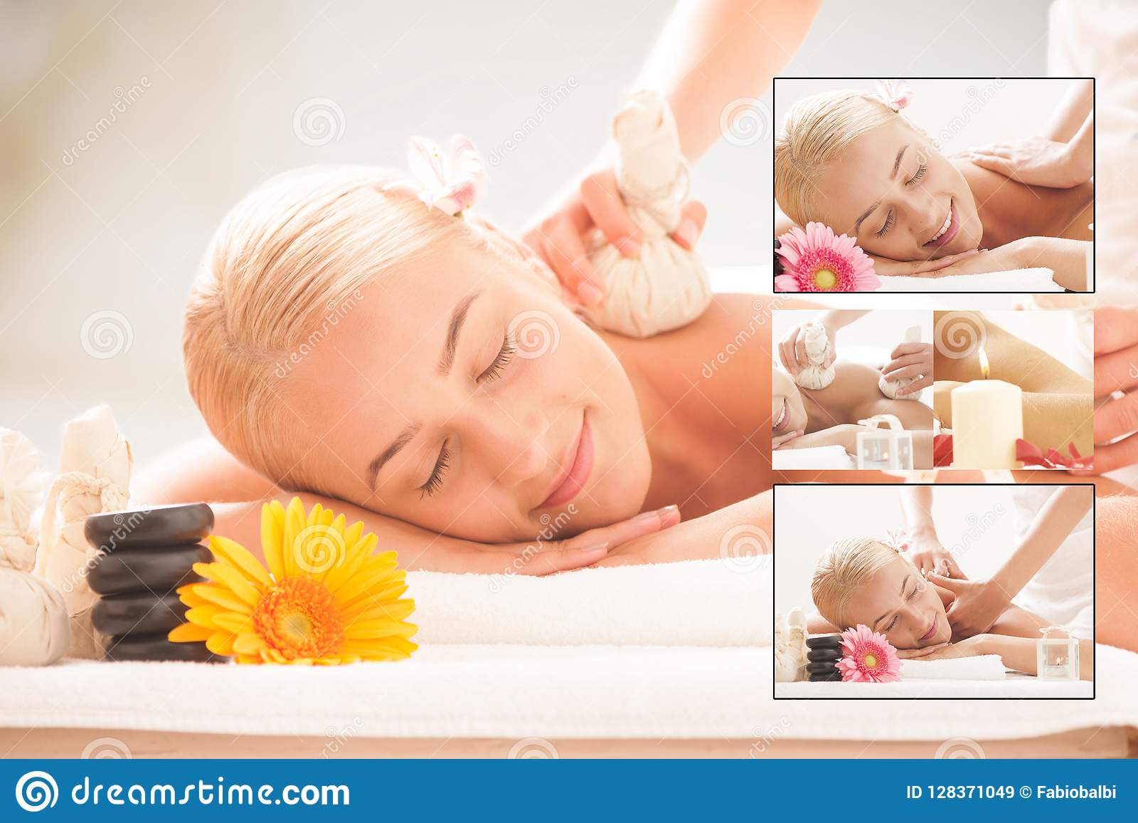 Senhora loura que aprecia massagens em termas da saúde