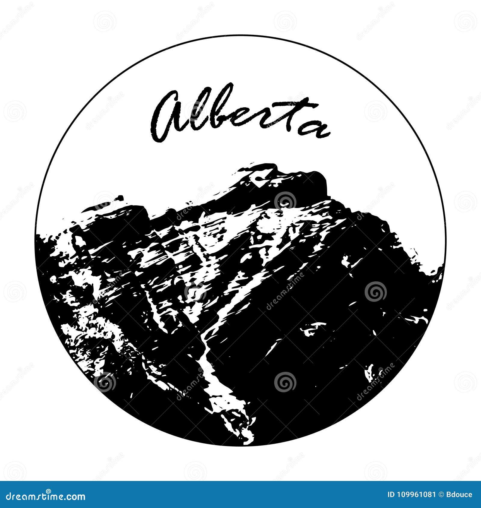 Senhorita Cascade Mountain In um círculo com texto do ` de Alberta do `