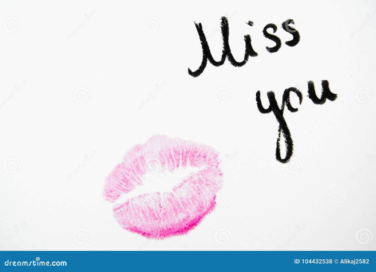 Senhorita do ` você texto do ` com beijo do batom no fundo branco
