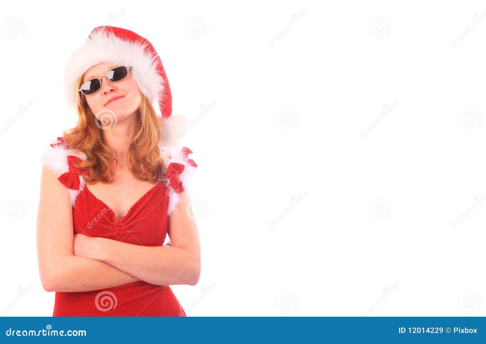 A senhorita Santa é uma menina fresca - colheita do retângulo