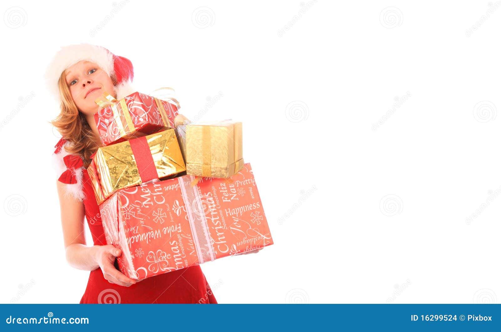 A senhorita Santa está carreg presentes demais