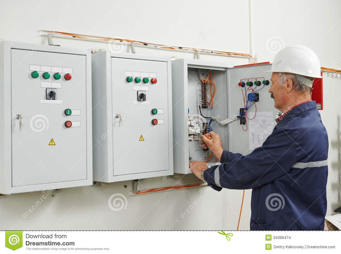 Senior Adult Electrician Engineer Worker Stock Photo Image Of Industrial Fuse Box Download 34396474