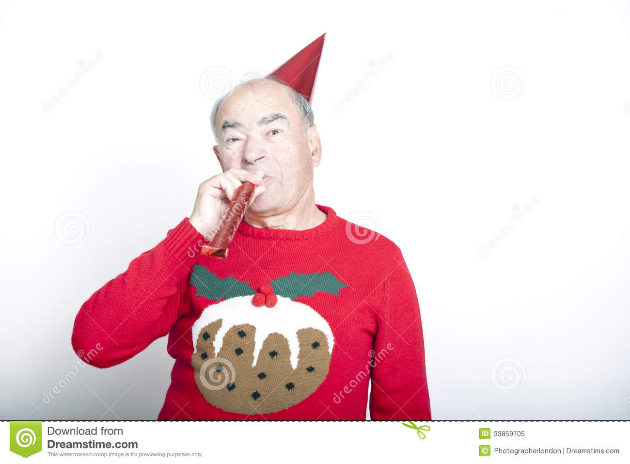 Senior Christmas Party Ideas Part - 24: Senior Adult Man Wearing Christmas Jumper Blowing Party Blower