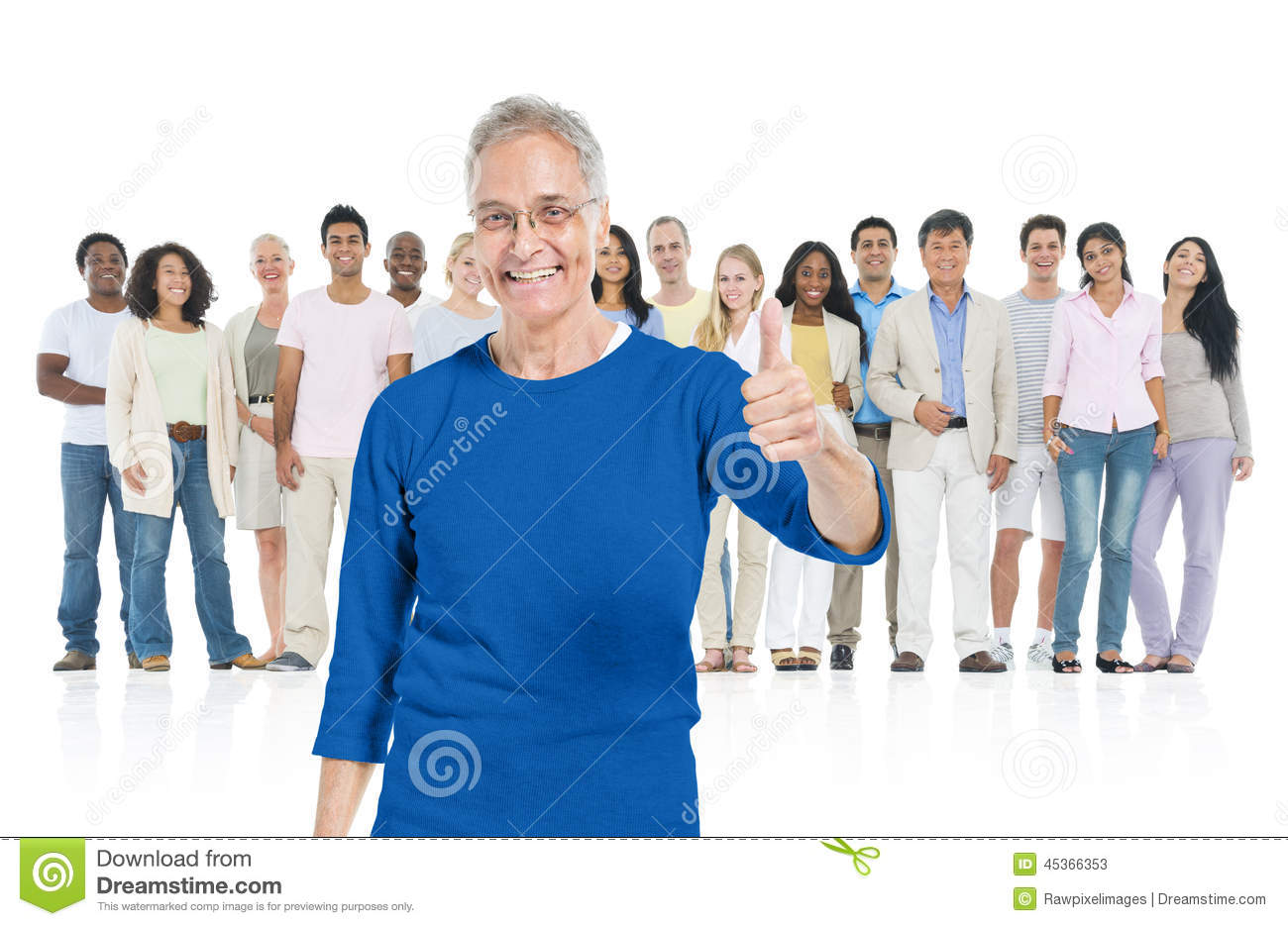 Senior adult standing out from crowd