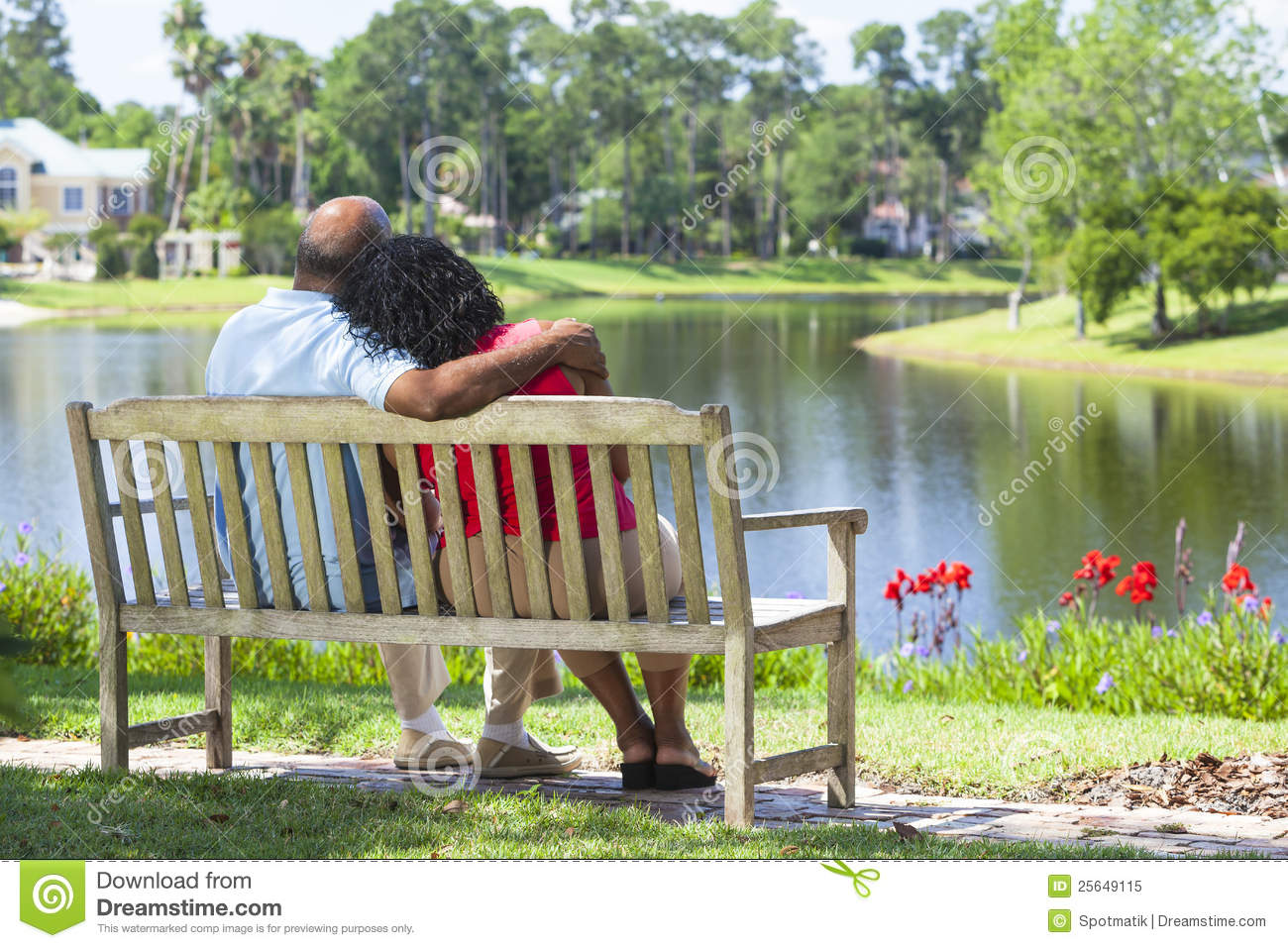 Senior African American Couple On Park Bench