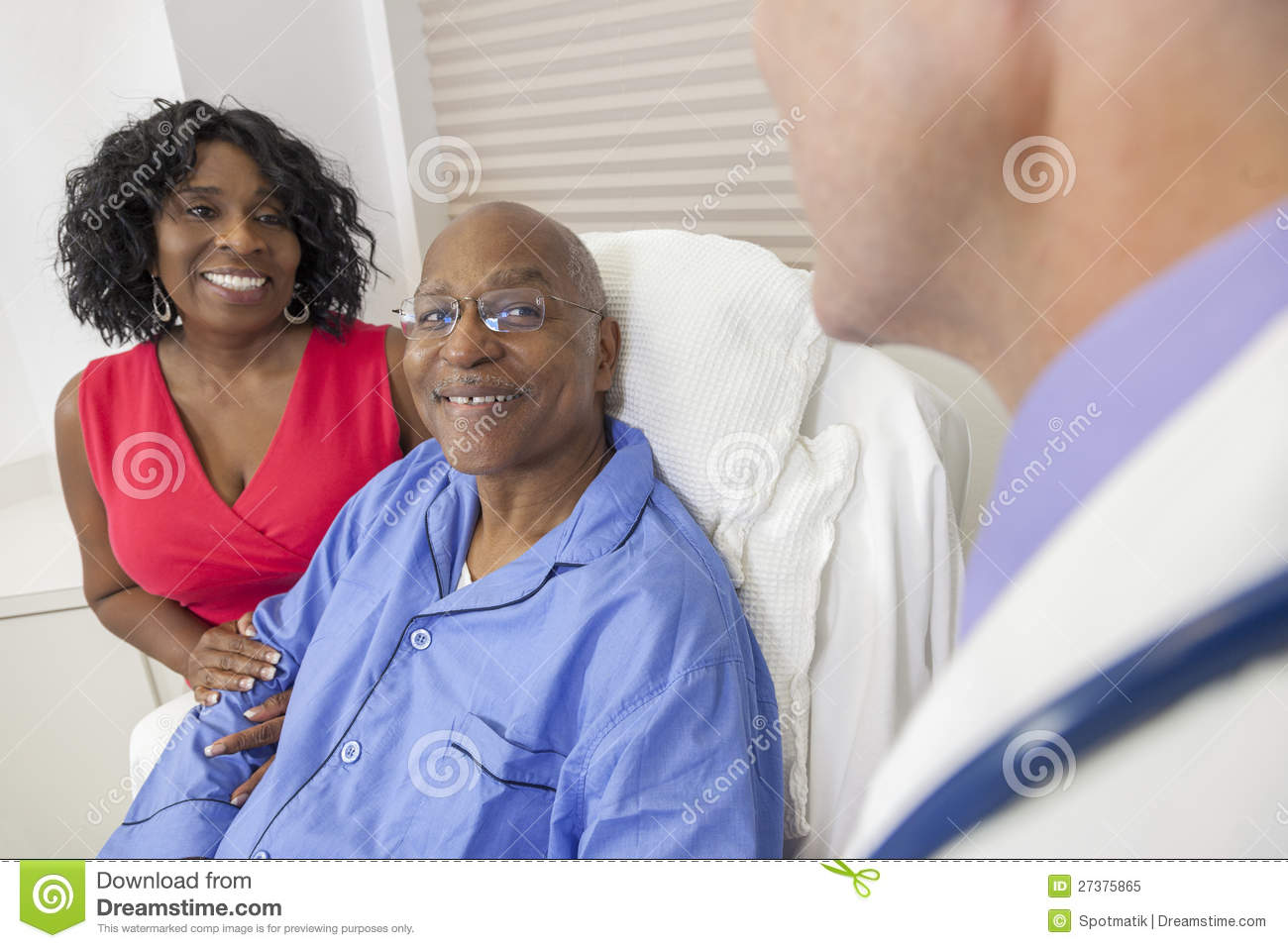 Senior African American Man In Hospital Bed Royalty Free ...