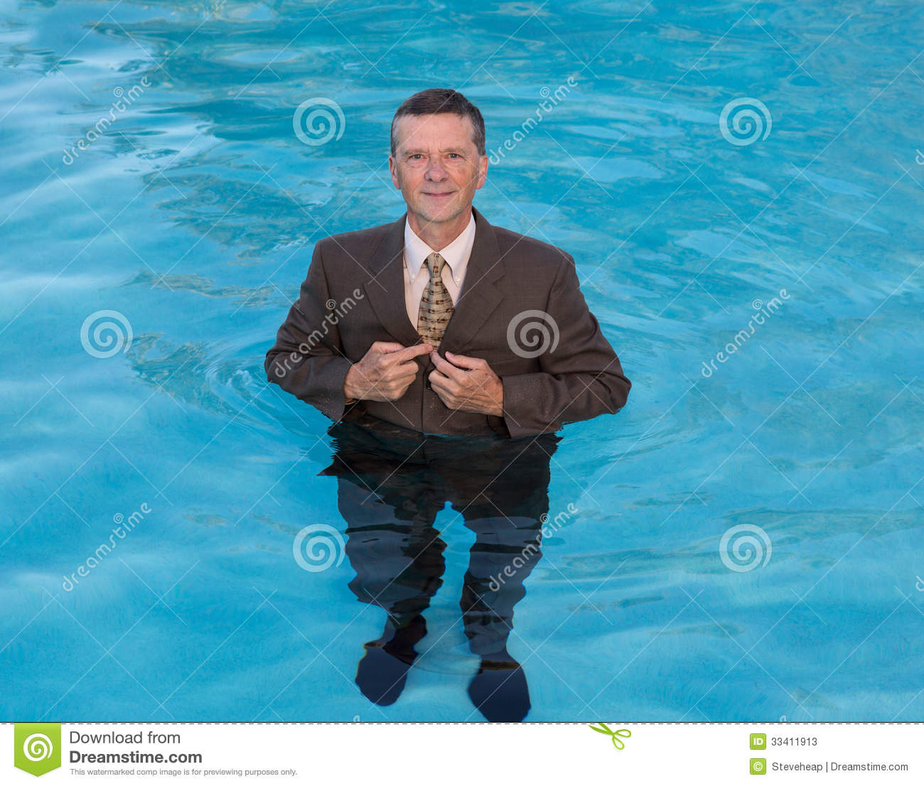 Olympic Swimming Pool In Person: Senior Business Man In Deep Water Stock Photos