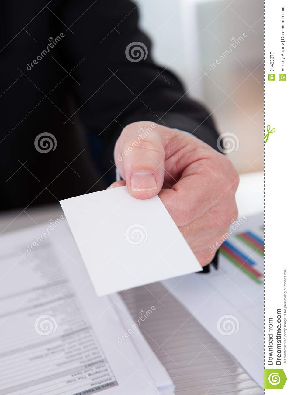 Senior Business Man Offering Visiting Card Stock Image - Image of ...