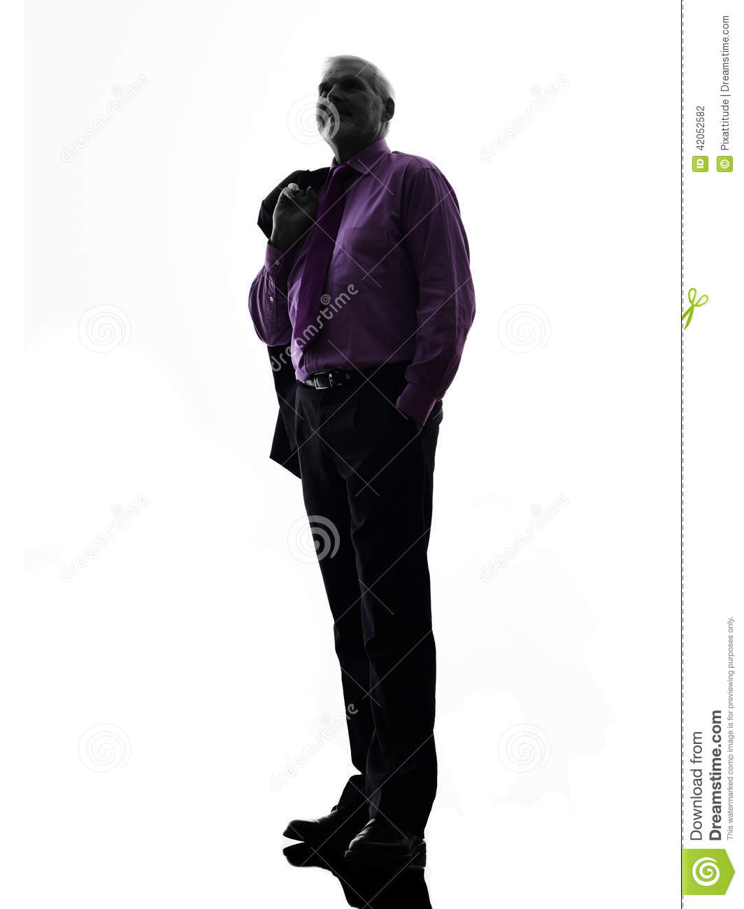 Senior Business Man Standing Looking Up Silhouette Stock