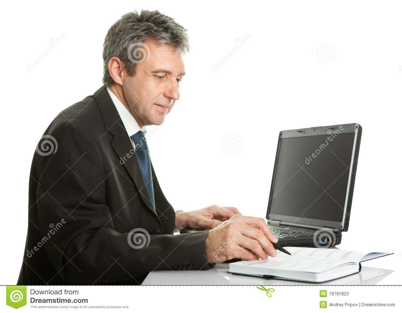 Download Senior Business Man Working On Laptop Stock Image - Image of isolated, people: 18781823